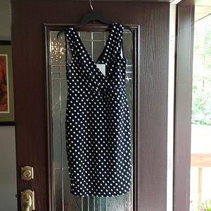 Navy Bodycon Polkadot Dress. Tag 2xl, but is XL